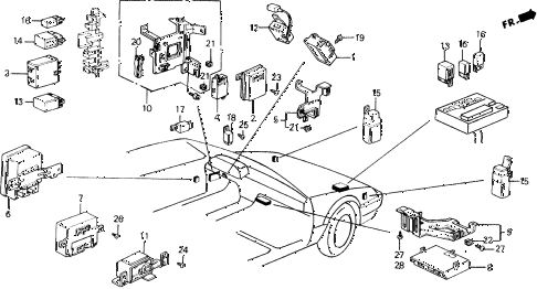 1989 prelude 2.0SI(4WS) 2 DOOR 5MT RELAY - INTEGRATED UNIT diagram