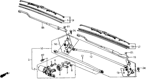 1990 prelude 2.05SI 2 DOOR 4AT FRONT WINDSHIELD WIPER diagram