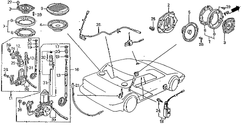 1988 prelude 2.0SI(4WS) 2 DOOR 4AT SPEAKER - ANTENNA diagram