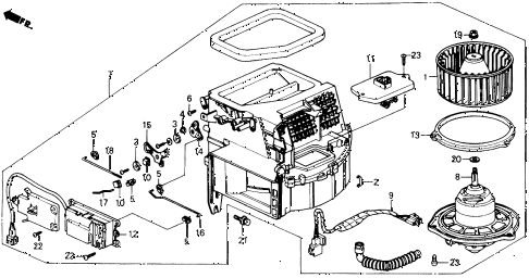 1991 prelude 2.05SI(ABS) 2 DOOR 4AT HEATER BLOWER diagram
