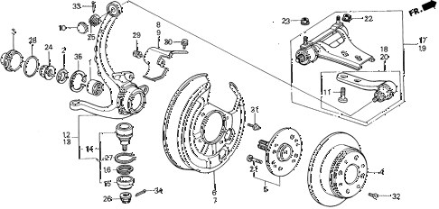 1990 prelude 2.0S 2 DOOR 4AT REAR BRAKE DISK diagram