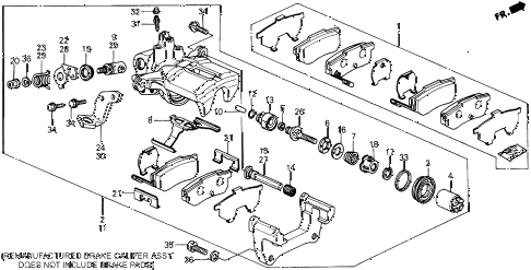 1989 prelude 2.0S 2 DOOR 5MT REAR BRAKE CALIPER diagram