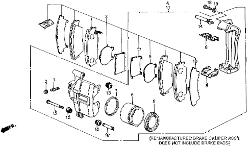 1990 prelude 2.0S 2 DOOR 4AT FRONT BRAKE CALIPER (S) diagram