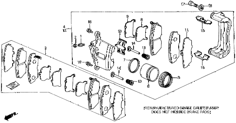 1989 prelude 2.0SI 2 DOOR 4AT FRONT BRAKE CALIPER (SI) diagram