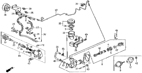 1991 prelude 2.05SI(4WS) 2 DOOR 4AT CLUTCH MASTER CYLINDER diagram