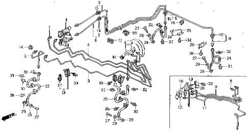 1990 prelude 2.0SI 2 DOOR 4AT BRAKE LINES diagram