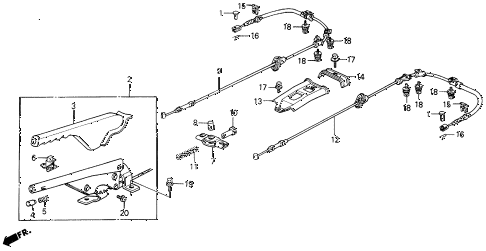 1988 prelude 2.0SI 2 DOOR 5MT PARKING BRAKE diagram