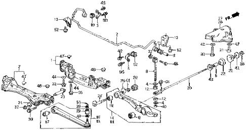 1989 prelude 2.0SI(4WS) 2 DOOR 5MT REAR LOWER ARM diagram