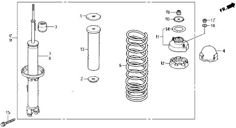 1990 prelude 2.05SI(ABS) 2 DOOR 5MT REAR SHOCK ABSORBER diagram