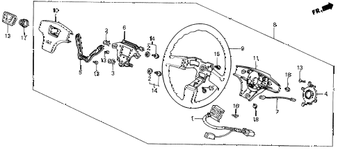 1988 prelude 2.0S 2 DOOR 5MT STEERING WHEEL (NIPPON PURASUTO) diagram