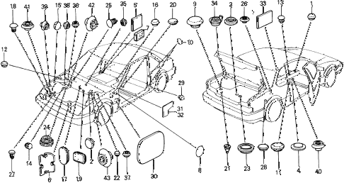 1991 prelude 2.05SI 2 DOOR 5MT GROMMET - PLUG diagram