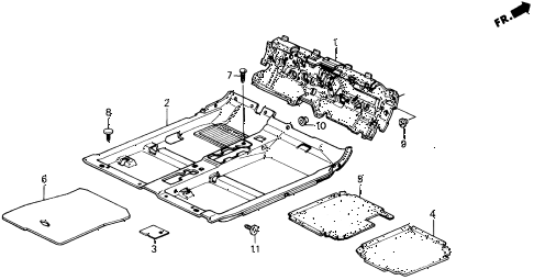 1990 prelude 2.0SI 2 DOOR 5MT FLOOR MAT diagram