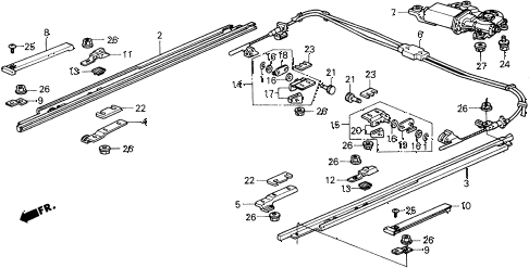1990 prelude 2.0S 2 DOOR 5MT ROOF MOTOR - SLIDE RAIL diagram