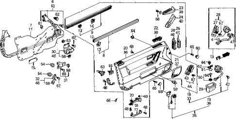 1988 prelude 2.0SI(4WS) 2 DOOR 4AT FRONT DOOR LINING (2.0 S,SI) diagram