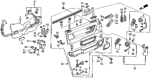 1990 prelude 2.05SI 2 DOOR 4AT FRONT DOOR LINING (2.05 SI) diagram