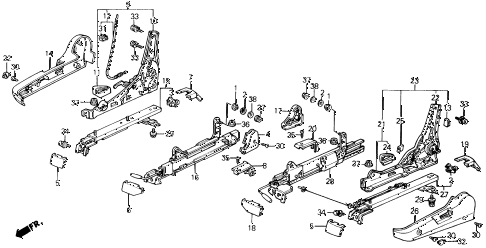 1991 prelude 2.05SI(4WS) 2 DOOR 5MT FRONT SEAT COMPONENTS diagram