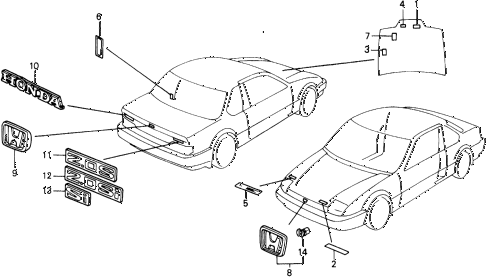 1990 prelude 2.0SI 2 DOOR 5MT EMBLEMS diagram