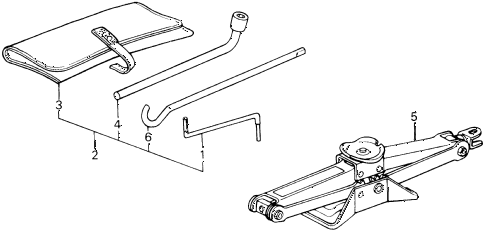 1990 prelude 2.0S 2 DOOR 4AT TOOLS - JACK diagram