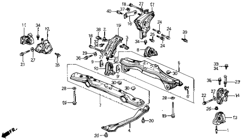 1991 prelude 2.05SI(ABS) 2 DOOR 4AT ENGINE MOUNT - CENTER BEAM diagram