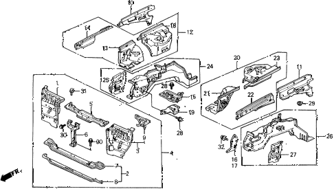 1990 prelude 2.05SI 2 DOOR 4AT FRONT BULKHEAD diagram