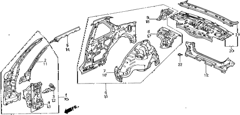 1991 prelude 2.0SI 2 DOOR 5MT INNER PANEL diagram