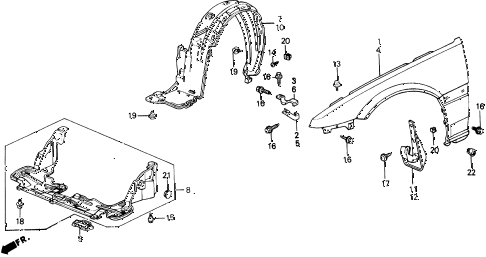 1991 prelude 2.05SI 2 DOOR 5MT FRONT FENDER diagram