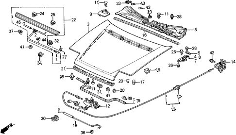 1989 prelude 2.0S 2 DOOR 5MT HOOD diagram