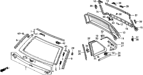 1989 prelude 2.0SI(4WS) 2 DOOR 5MT WINDSHIELD - REAR WINDOW diagram