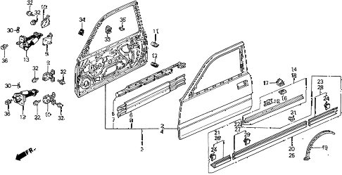 1991 prelude 2.05SI(4WS) 2 DOOR 5MT DOOR PANEL diagram