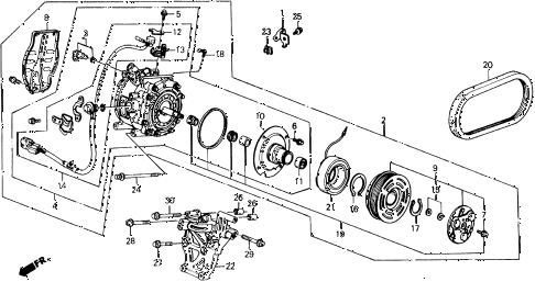 1990 prelude 2.05SI 2 DOOR 4AT A/C COMPRESSOR (2.05 SI) diagram