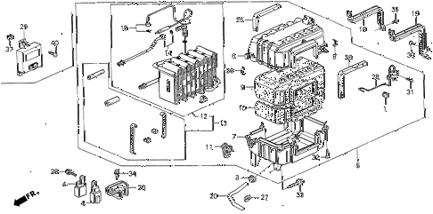 1990 prelude 2.05SI(ABS) 2 DOOR 5MT A/C COOLING UNIT (SI) diagram