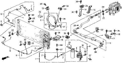 1991 prelude 2.05SI(4WS) 2 DOOR 4AT A/C HOSES - PIPES (SI) diagram