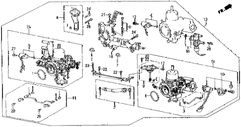 1988 prelude 2.0S 2 DOOR 5MT CARBURETOR ASSEMBLY diagram