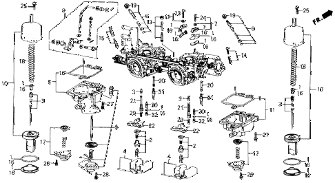 1990 prelude 2.0S 2 DOOR 5MT CARBURETOR COMPONENTS diagram