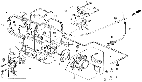 1991 prelude 2.05SI 2 DOOR 5MT THROTTLE BODY (SI) diagram