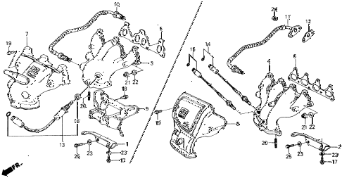 1988 prelude 2.0S 2 DOOR 4AT EXHAUST MANIFOLD diagram