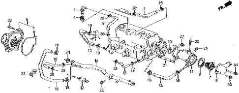 1988 prelude 2.0S 2 DOOR 5MT WATER PUMP (S) diagram