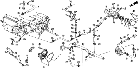 1989 prelude 2.0SI 2 DOOR 4AT WATER PUMP (SI) diagram