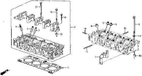1990 prelude 2.0S 2 DOOR 4AT CYLINDER HEAD (S) diagram