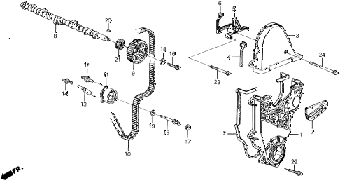 1989 prelude 2.0S 2 DOOR 5MT CAMSHAFT - TIMING BELT (S) diagram