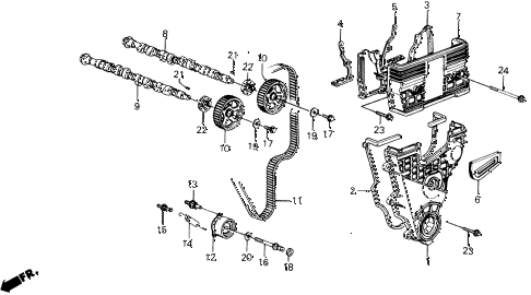 1991 prelude 2.05SI(4WS) 2 DOOR 5MT CAMSHAFT - TIMING BELT (SI) diagram