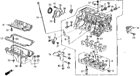 1991 prelude 2.05SI(4WS) 2 DOOR 5MT CYLINDER BLOCK - OIL PAN diagram
