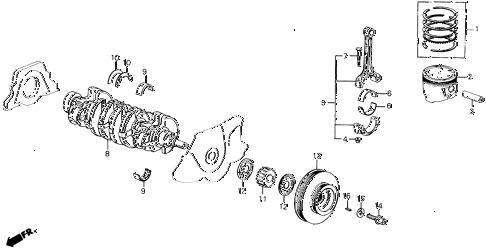 1990 prelude 2.0S 2 DOOR 4AT PISTON - CRANKSHAFT diagram