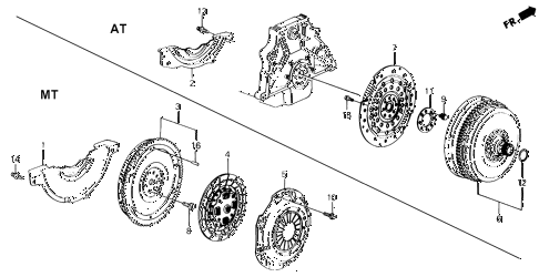 1988 prelude 2.0SI(4WS) 2 DOOR 4AT CLUTCH - TORQUE CONVERTER diagram