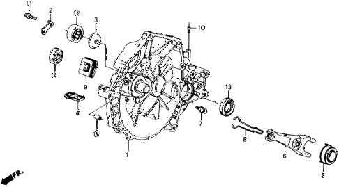 1990 prelude 2.0S 2 DOOR 5MT MT CLUTCH HOUSING - CLUTCH RELEASE diagram