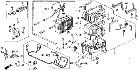 1990 prelude 2.0SI 2 DOOR 5MT A/C COOLING UNIT diagram