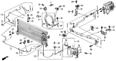 1990 prelude 2.0S 2 DOOR 5MT A/C HOSES - PIPES diagram