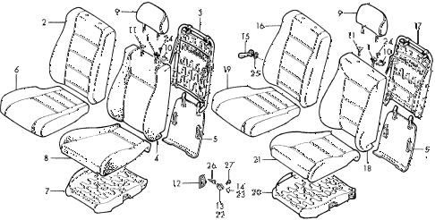 1988 accord LXI 2 DOOR 5MT FRONT SEAT diagram