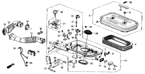 1989 accord DX 2 DOOR 5MT AIR CLEANER diagram
