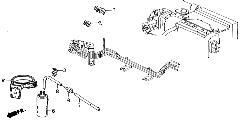 1989 accord LXI 2 DOOR 5MT AIR CLEANER TUBING (PGM-FI) diagram